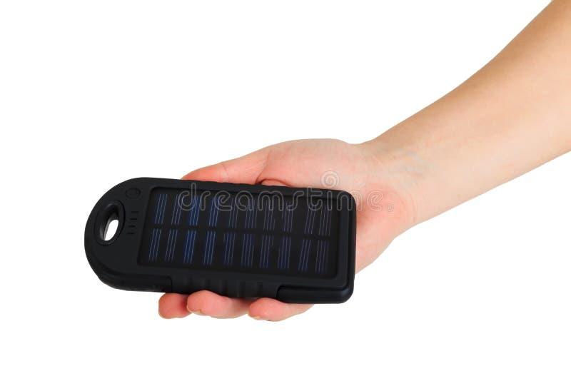 Källa för alternativ energi, bärbar sol- uppladdare royaltyfria foton