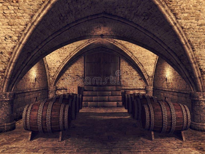 Källare med vinfat royaltyfri illustrationer