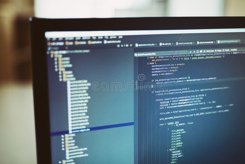 Källkoder för tillbaka slut på datorbildskärm royaltyfria bilder