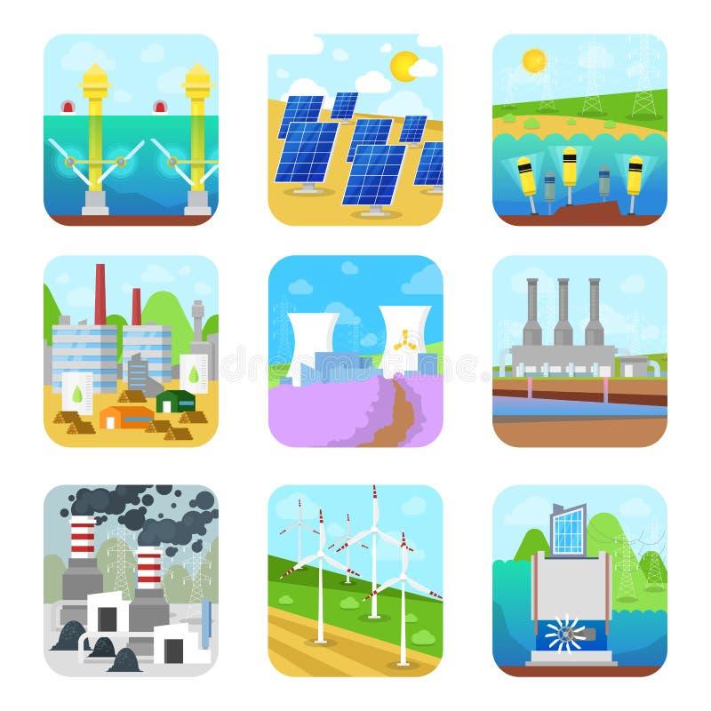 Källor för driftig kraftig fabrik för stationer för elektricitet för energimaktvektor sol- förnybara alternativa, hydroelektriskt vektor illustrationer