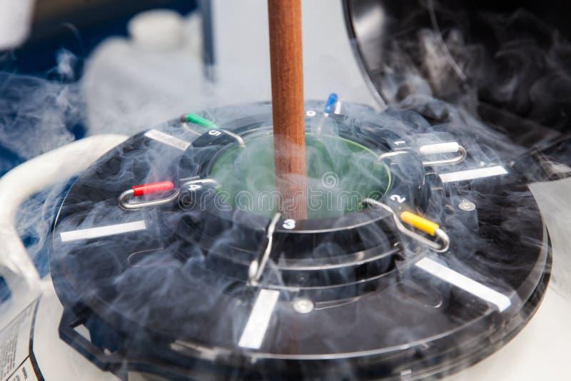 Kälteerzeugender Behälter des flüssigen Stickstoffes am Labor lizenzfreie stockbilder
