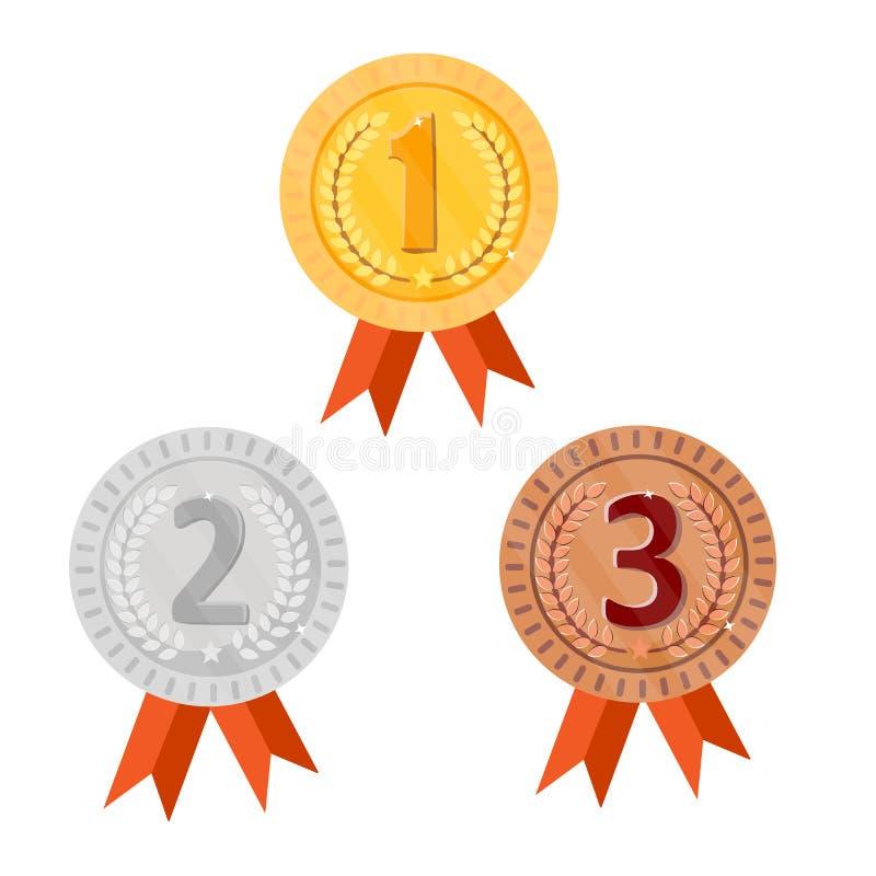 Kämpa för guld-, silver- och bronsutmärkelsemedaljer med röda band Rund symbolsseger bakgrund isolerad white vektor stock illustrationer