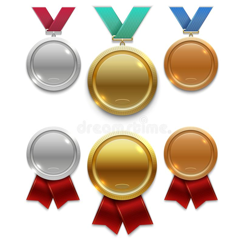 Kämpa för guld-, silver- och bronsutmärkelsemedaljer med rött och färgar band som isoleras på vit bakgrund vektor illustrationer