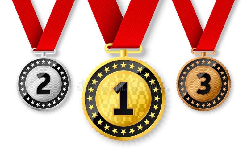 Kämpar för guld-, silver- och bronsutmärkelsemedaljer royaltyfri illustrationer