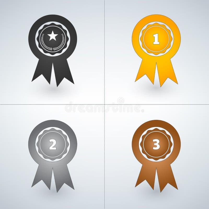 Kämpar för guld, silver, och bronsutmärkelsen förser med märke Först andra och tredje ställeutmärkelser också vektor för coreldra royaltyfri illustrationer