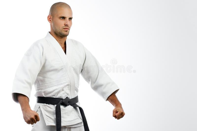 Kämpe i den vita kimonot som poserar på isolerat royaltyfria bilder