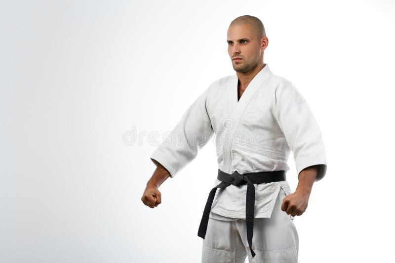 Kämpe i den vita kimonot som poserar på isolerat royaltyfri fotografi