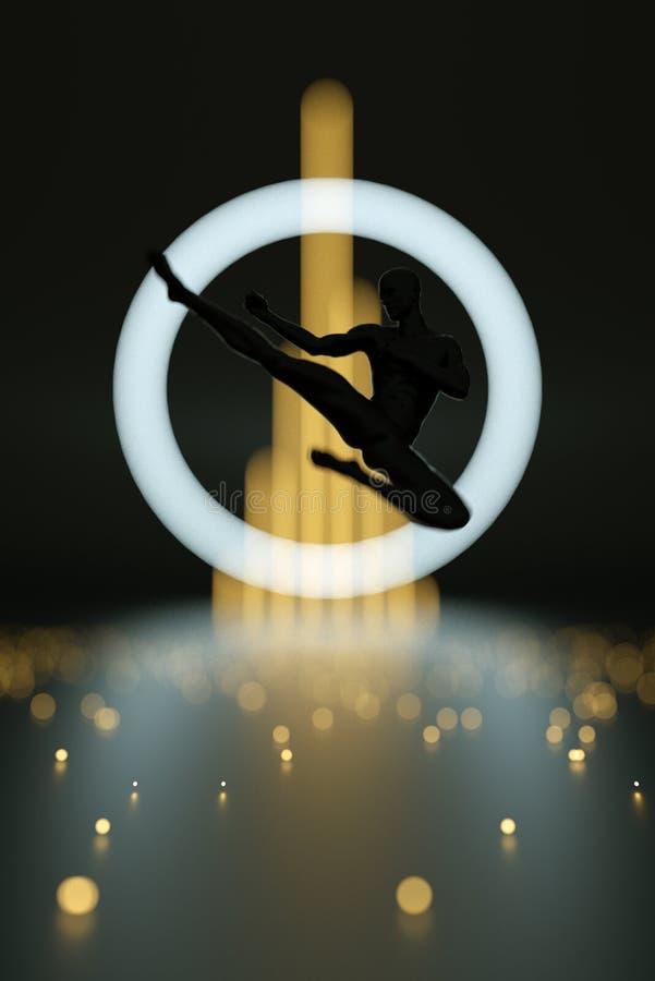 Kämpe som utför karate Abstrakt svart plast- människokroppkämpekontur Handlingbanhoppningen poserar royaltyfri illustrationer