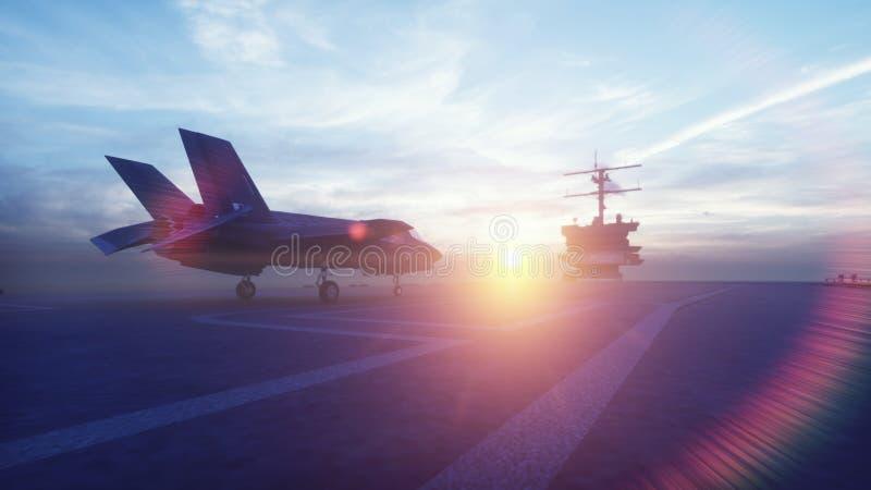 Kämpen F-35 tar av vertikalt från hangarfartyget på soluppgång framf?rande 3d stock illustrationer