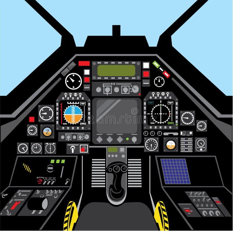 Kämpen sprutar ut cockpiten vektor illustrationer