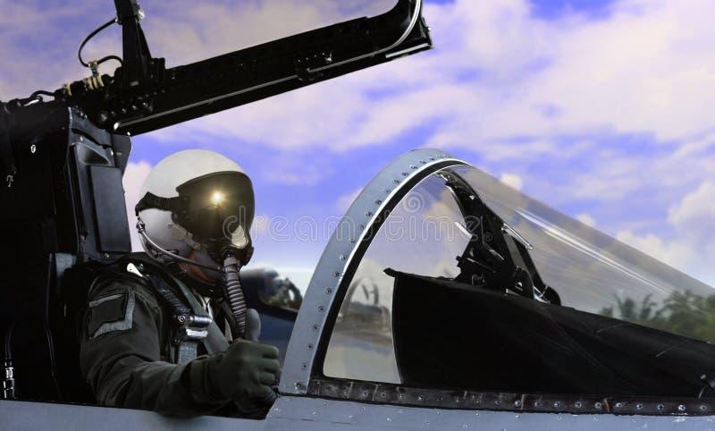 Kämpepilot som får klar att ta av arkivbild