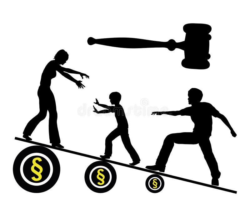 Kämpfen für Sorgerecht lizenzfreie abbildung