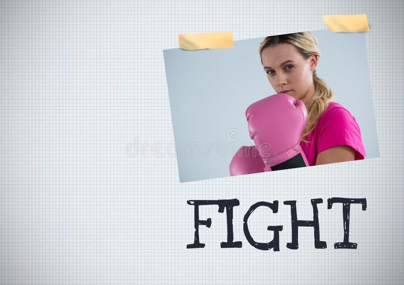 Kämpfen Sie Text und Brustkrebs-Bewusstseins-Foto-Collage stockfotos
