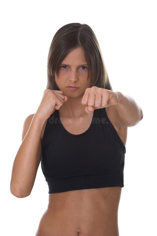 Kämpfende Frau - Fokus auf Gesicht lizenzfreie stockfotos