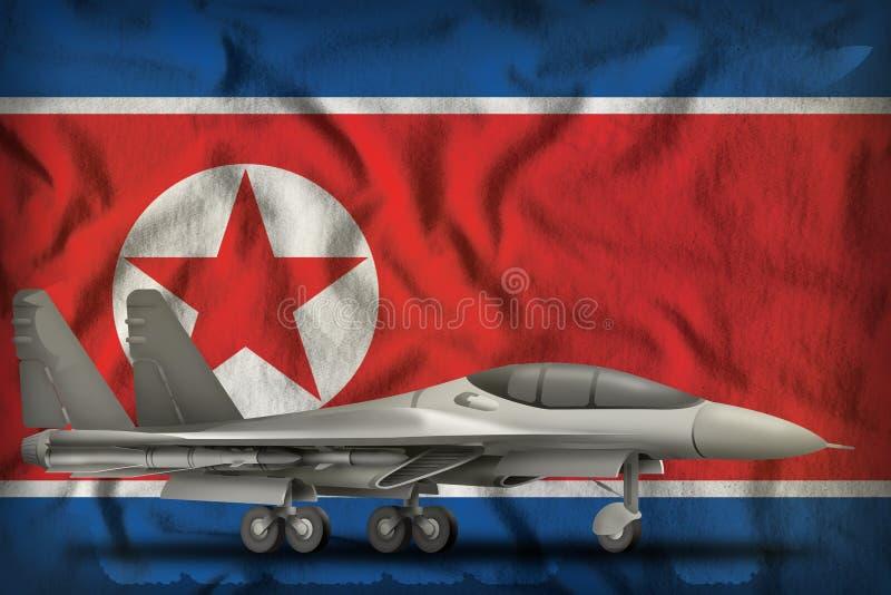 Kämpfer, Abhörer für die Demokratische Volksrepublik Korea - Nordkorea unter Flagge 3d Illustration stock abbildung