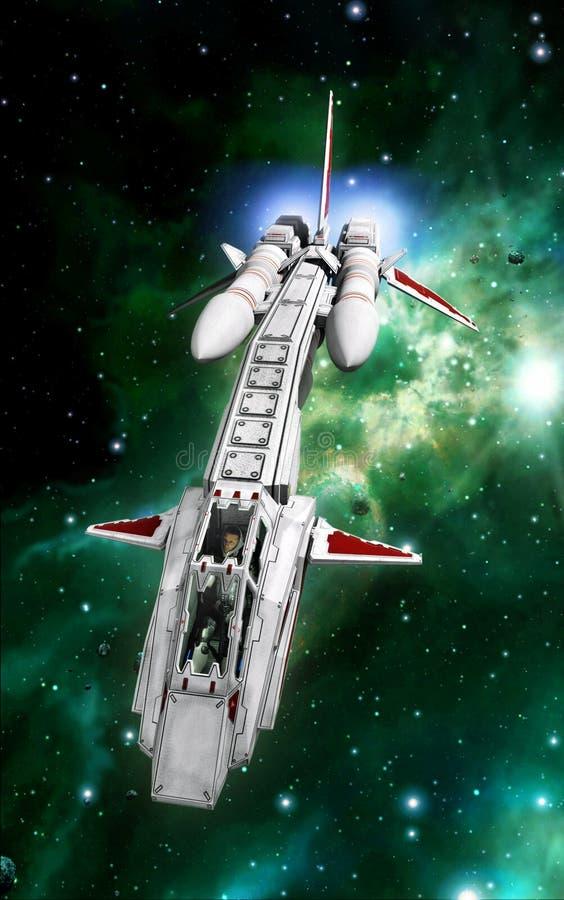 Kämpfer der langen Strecke des Raumschiffes stock abbildung
