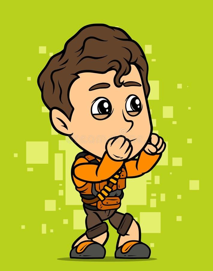 Kämpfer-Jungencharakter der Karikatur brunette vektor abbildung
