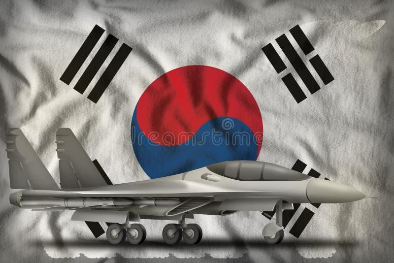 Kämpfer und Abhörer auf dem Hintergrund der Flagge der Republik Korea - Südkorea 3d Illustration lizenzfreie abbildung