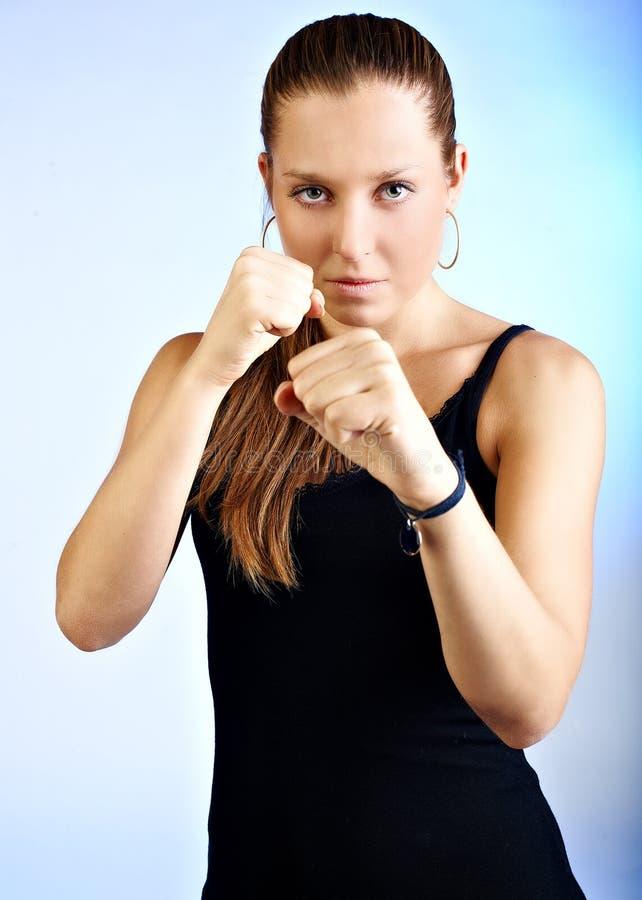 Kämpfermädchen stockfoto
