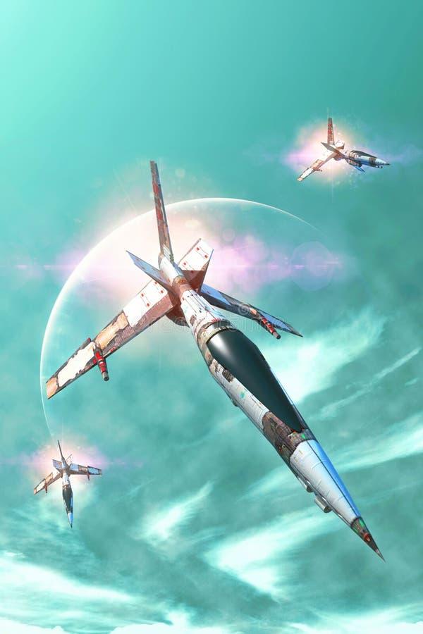 Kämpferraumschiff und -planet stock abbildung