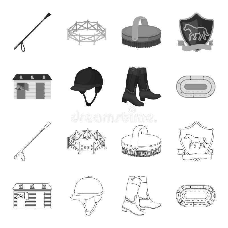 Kängor gräs, stadion, spår, vilar Fastställda samlingssymboler för kapplöpningsbana och för häst i översikten, monokromt stilvekt royaltyfri illustrationer