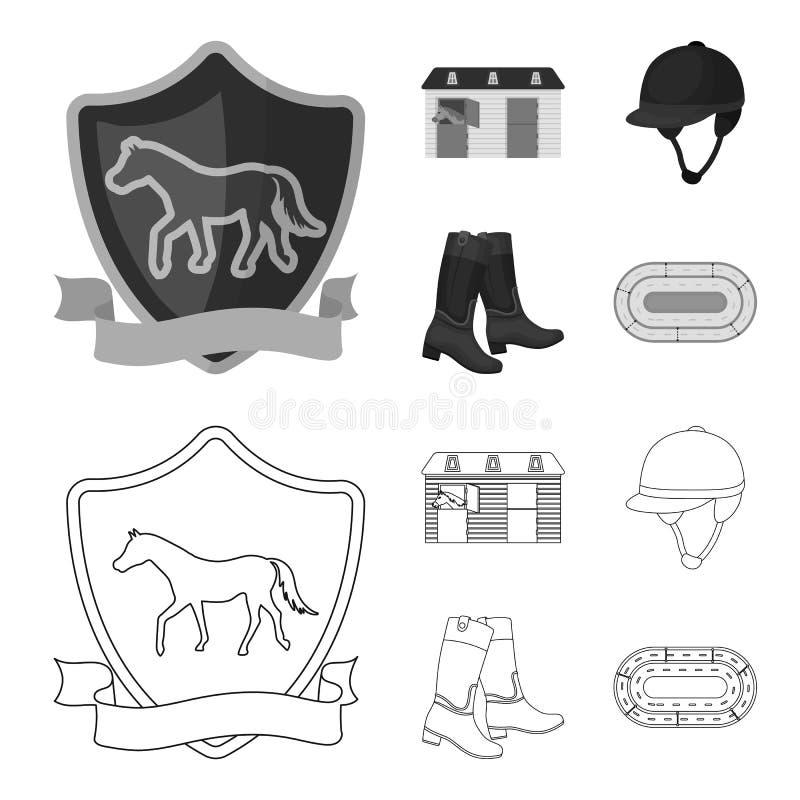 Kängor gräs, stadion, spår, vilar Fastställda samlingssymboler för kapplöpningsbana och för häst i översikten, monokromt stilvekt vektor illustrationer