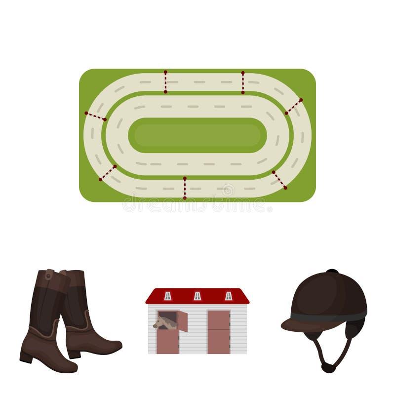 Kängor gräs, stadion, spår, vilar Fastställda samlingssymboler för kapplöpningsbana och för häst i materiel för symbol för teckna vektor illustrationer