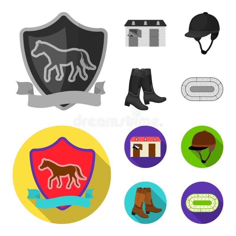 Kängor gräs, stadion, spår, vilar Fastställda samlingssymboler för kapplöpningsbana och för häst i monokrom, symbol för lägenhets royaltyfri illustrationer