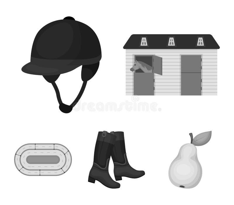 Kängor gräs, stadion, spår, vilar Fastställda samlingssymboler för kapplöpningsbana och för häst i monokromt materiel för stilvek vektor illustrationer