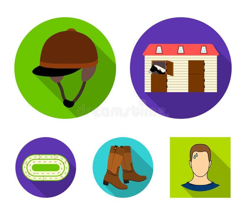 Kängor gräs, stadion, spår, vilar Fastställda samlingssymboler för kapplöpningsbana och för häst i plant materiel för stilvektors stock illustrationer