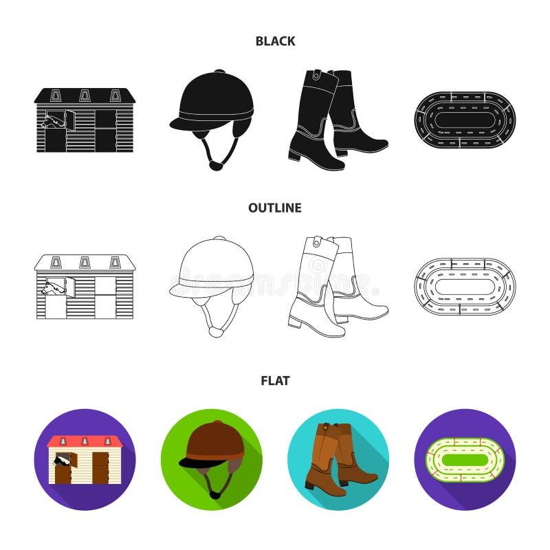 Kängor gräs, stadion, spår, vilar Fastställda samlingssymboler för kapplöpningsbana och för häst i svart, lägenhet, symbol för öv vektor illustrationer