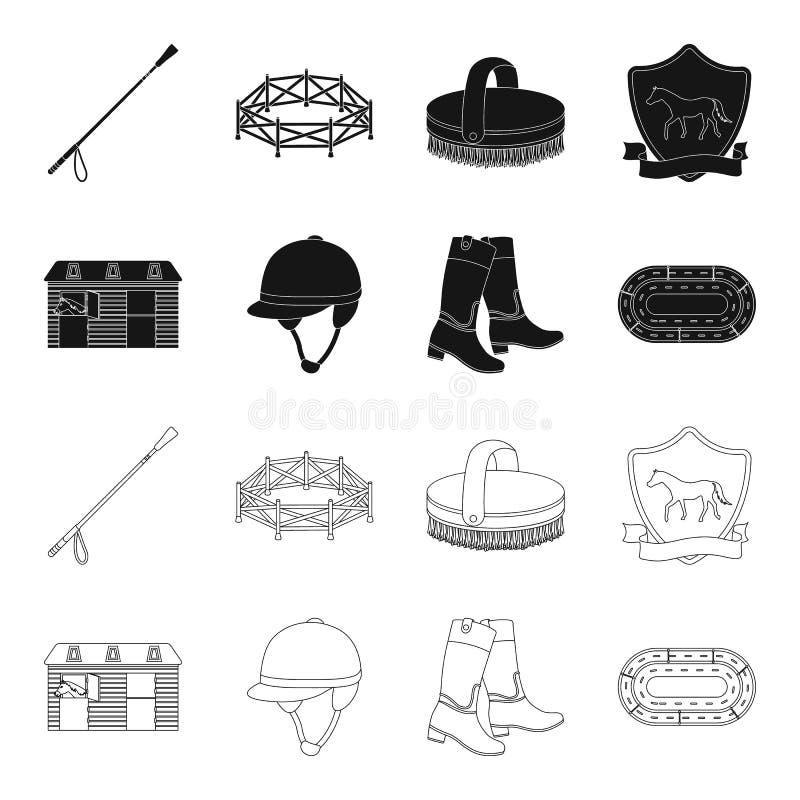 Kängor gräs, stadion, spår, vilar Fastställda samlingssymboler för kapplöpningsbana och för häst i svart, materiel för symbol för vektor illustrationer