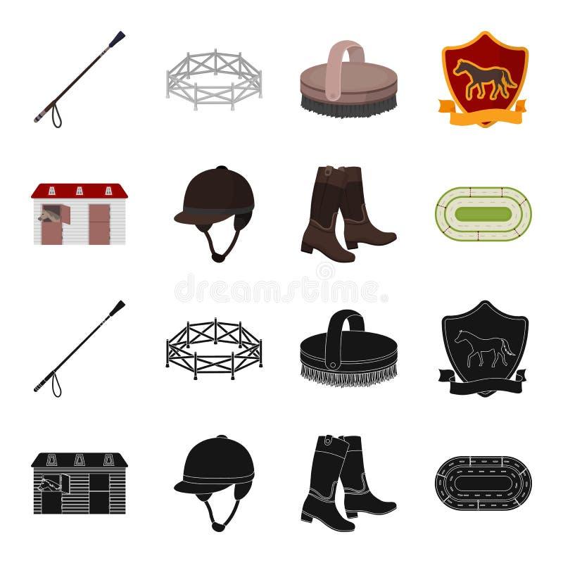 Kängor gräs, stadion, spår, vilar Fastställda samlingssymboler för kapplöpningsbana och för häst i svart, materiel för symbol för royaltyfri illustrationer