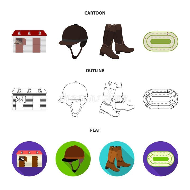 Kängor gräs, stadion, spår, vilar Fastställda samlingssymboler för kapplöpningsbana och för häst i tecknade filmen, översikt, läg royaltyfri illustrationer