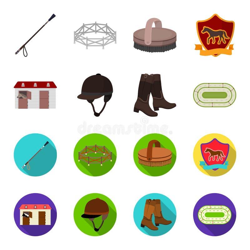 Kängor gräs, stadion, spår, vilar Fastställda samlingssymboler för kapplöpningsbana och för häst i tecknade filmen, materiel för  royaltyfri illustrationer