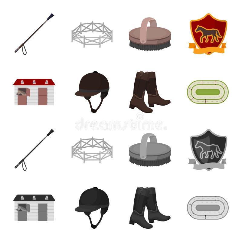 Kängor gräs, stadion, spår, vilar Fastställda samlingssymboler för kapplöpningsbana och för häst i tecknade filmen, monokromt sti stock illustrationer