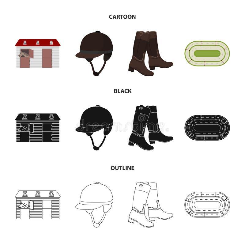 Kängor gräs, stadion, spår, vilar Fastställda samlingssymboler för kapplöpningsbana och för häst i tecknade filmen, svart, översi vektor illustrationer