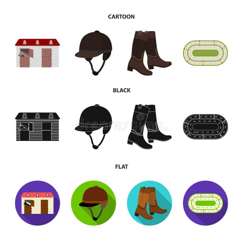 Kängor gräs, stadion, spår, vilar Fastställda samlingssymboler för kapplöpningsbana och för häst i tecknade filmen, svart, symbol vektor illustrationer