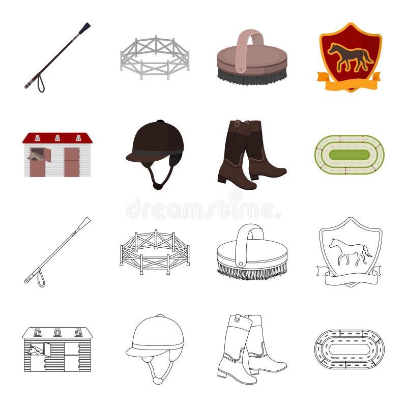 Kängor gräs, stadion, spår, vilar Fastställda samlingssymboler för kapplöpningsbana och för häst i tecknade filmen, symbol för öv vektor illustrationer