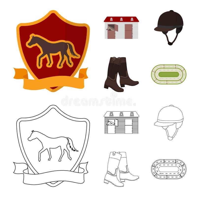 Kängor gräs, stadion, spår, vilar Fastställda samlingssymboler för kapplöpningsbana och för häst i tecknade filmen, symbol för öv royaltyfri illustrationer