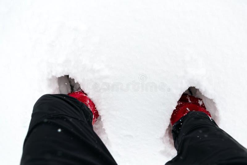 Kängor i snö, skor på en vit snö under att fotvandra i vinter royaltyfri foto