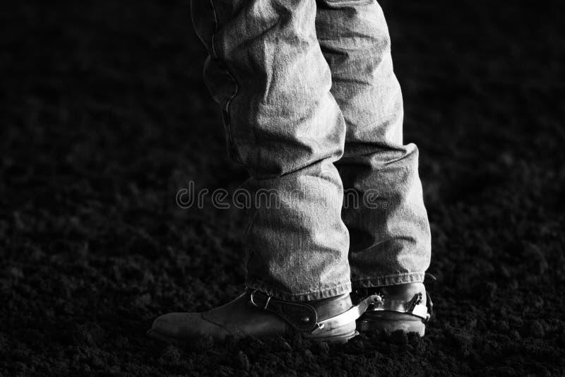 Kängor och sporrar på rodeon royaltyfri fotografi