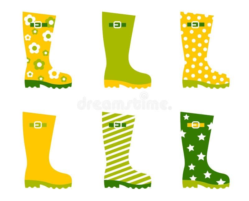 kängor rain den set fjädern wellington vektor illustrationer