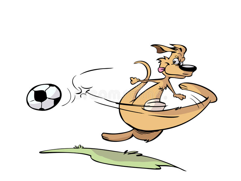 Känguru, der Fußball spielt vektor abbildung