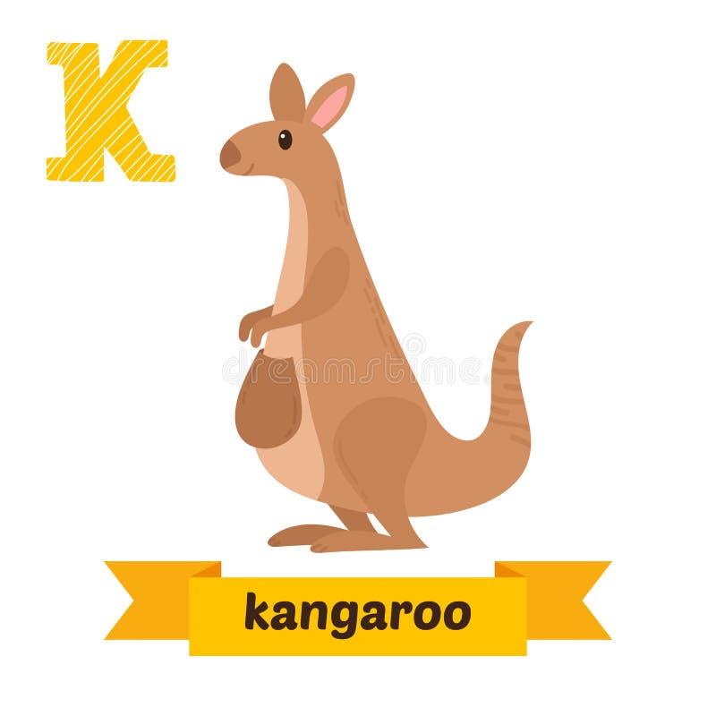 känguru K-bokstav Djurt alfabet för gulliga barn i vektor Gyckel royaltyfri illustrationer