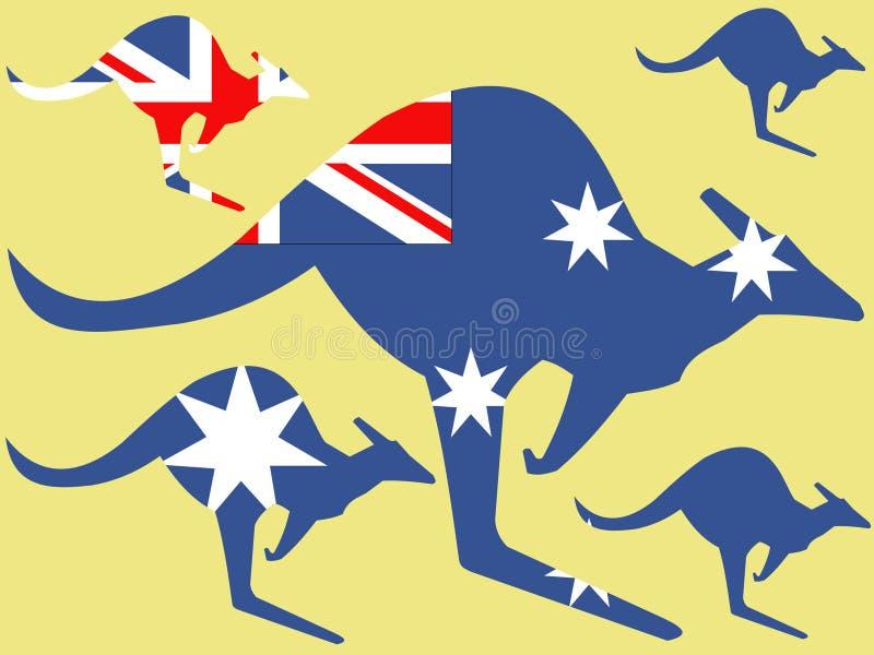 Känguru und australische Markierungsfahne stock abbildung