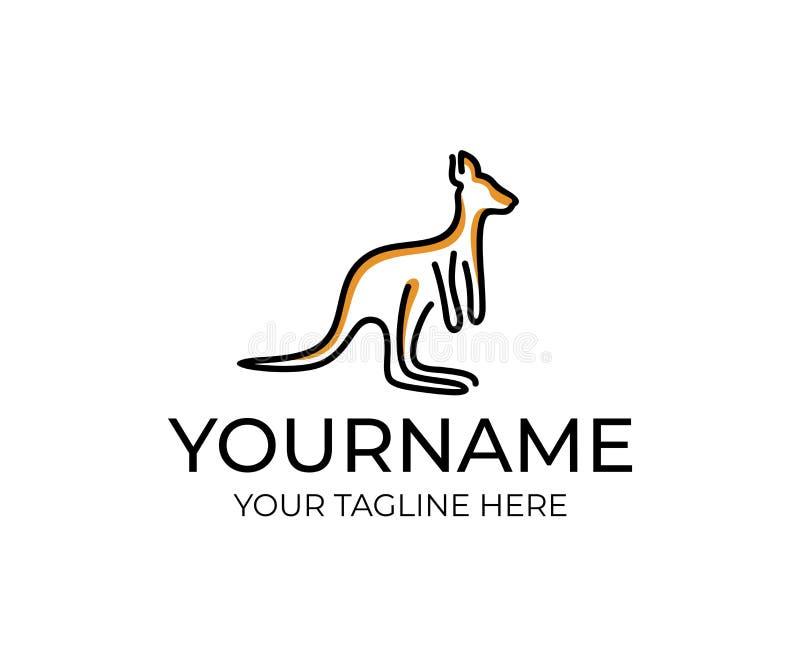 Kängurutier linear, Logoentwurf Wild lebende Tiere, Natur, wild, Vektorentwurf stock abbildung