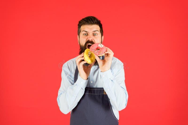Känn hunger skäggsman i kokock brutal servitör i köket vuxen mänsklig röd bakgrund skicklig bakare med nöt arkivfoto