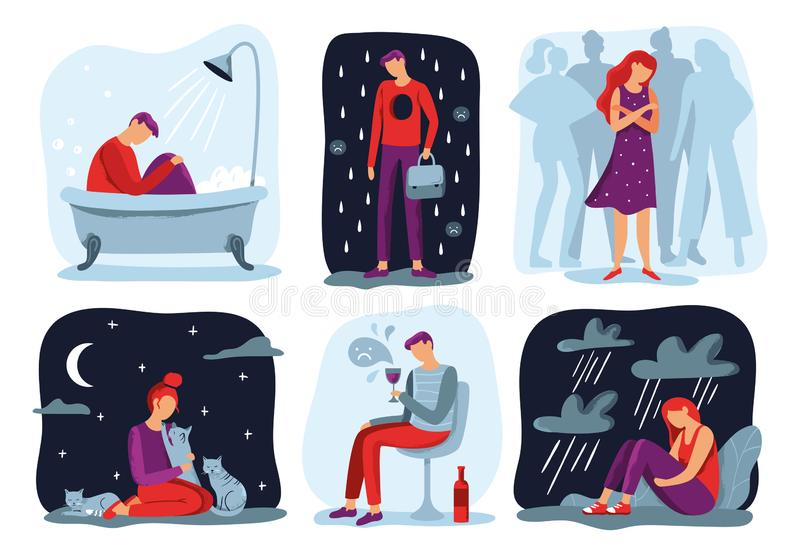 Känselensamhet Känna sig ensam ledsen deprimerande person och social uppsättning för isoleringsvektorillustration royaltyfri illustrationer