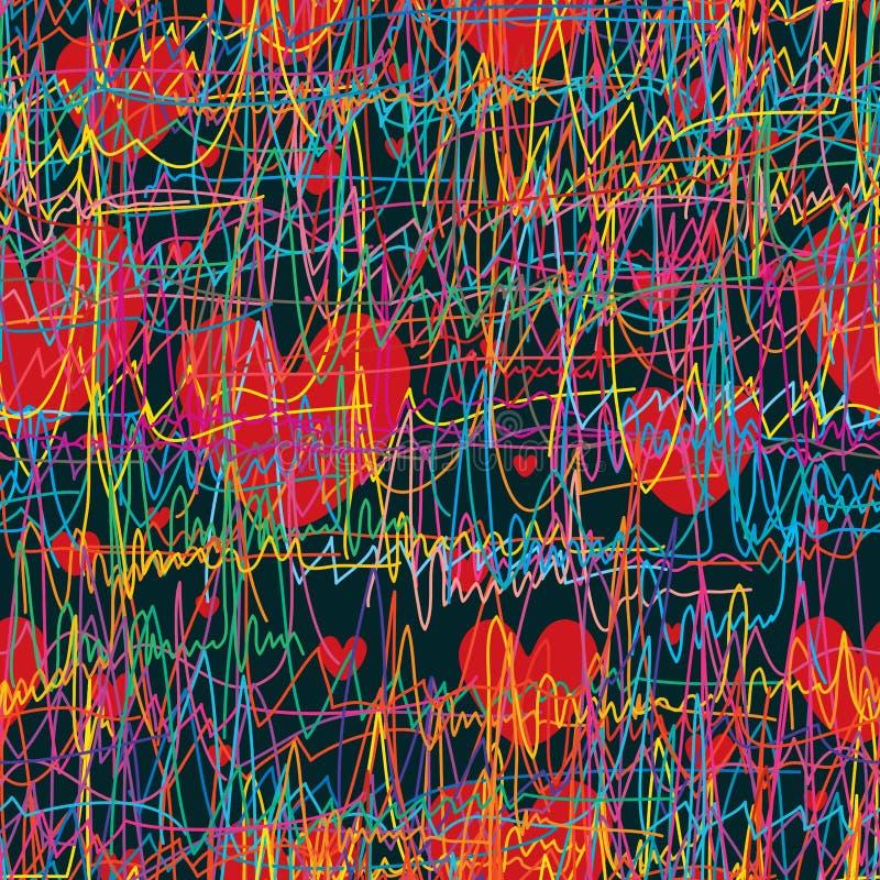 Känseln av andas linjen sömlös modell för förälskelse stock illustrationer